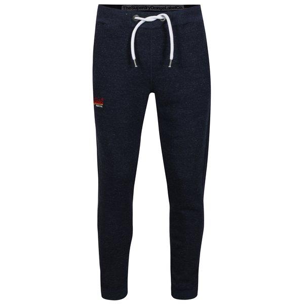 Pantalni sport slim fit bleumarin cu logo brodat Superdry