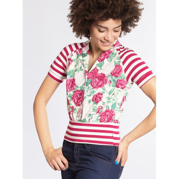Bluza crem&roz cu print floral si dungi Blutsgeschwister