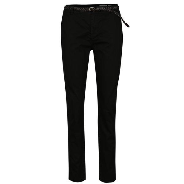 Pantaloni negri chino cu curea VERO MODA Flame