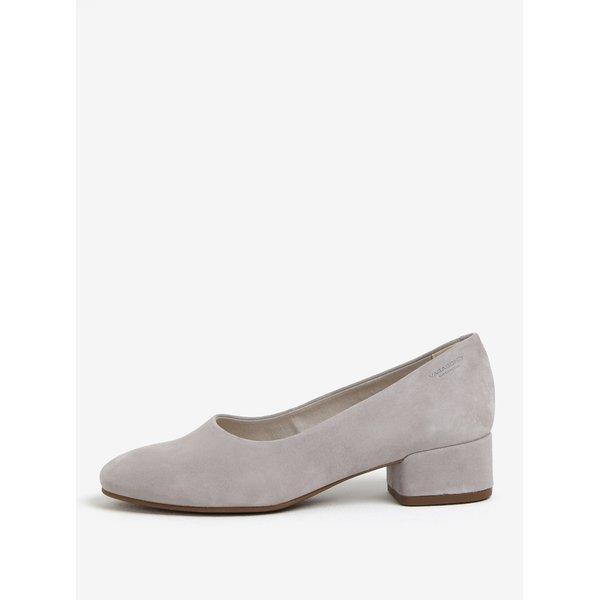 Pantofi cu toc lat gri din piele intoarsa Vagabond Jamilla
