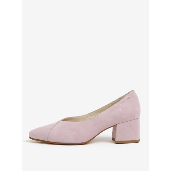 Pantofi retro roz deschis din piele intoarsa Vagabond Mya