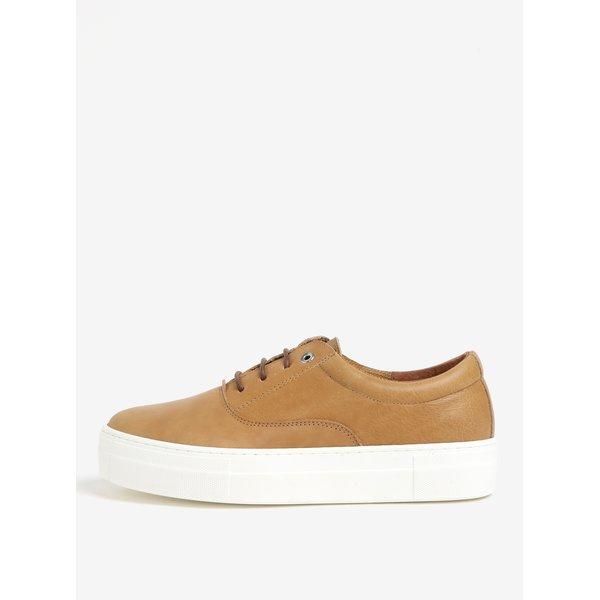 Pantofi sport maro din piele cu platforma – OJJU QUIOS