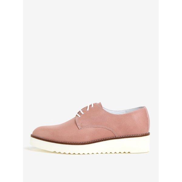 Pantofi roz din piele intoarsa cu platforma – OJJU KRON