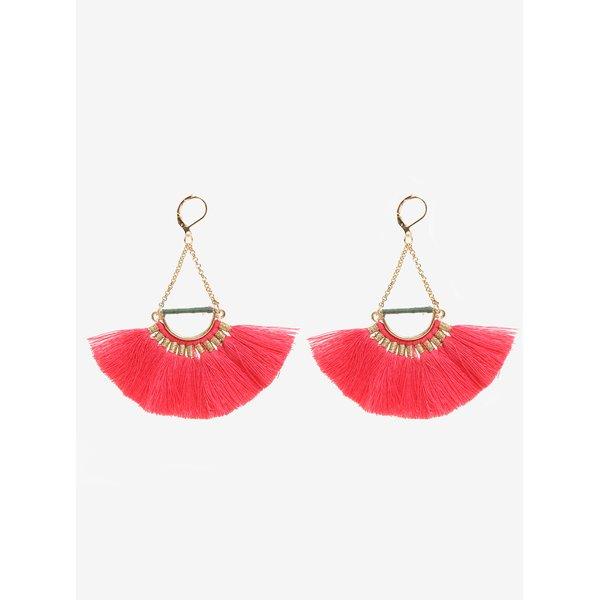 Cercei aurii cu ciucuri rosii - Pieces Melia
