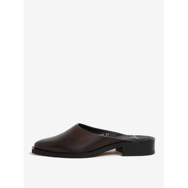 Papuci maro cu toc mic din piele pentru femei – Royal RepubliQ