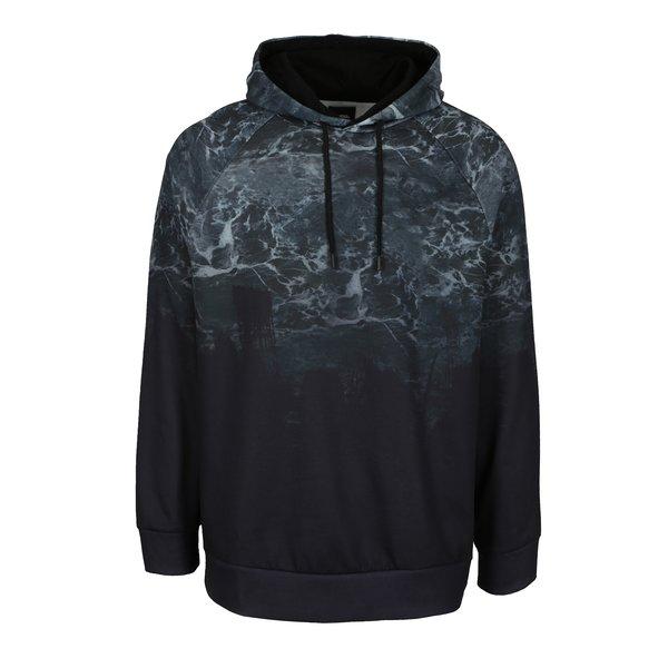 Hanorac negru cu aspect abstract si gluga pentru barbati - Burton Menswear London