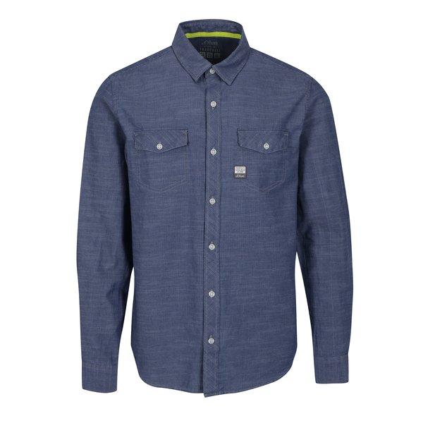 Camasa albastra slim fit cu model pentru barbati – s.Oliver