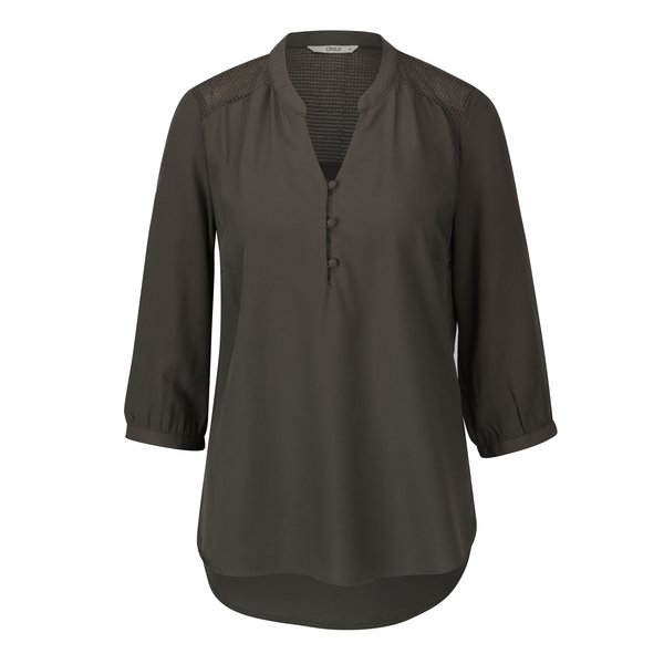 Bluza asimetrica verde inchis cu maneci 3/4 ONLY Paris