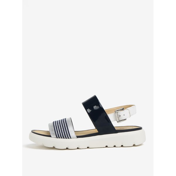 Sandale cu platforma crem & albastru si bareta cu aspect lucios – Geox Amalitha