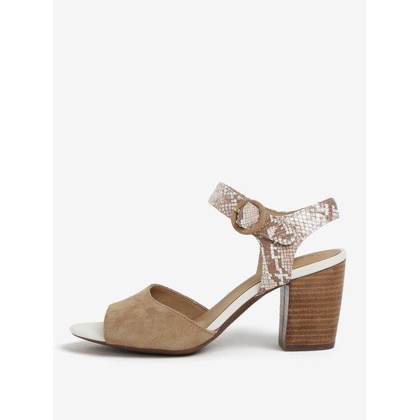 Sandale bej din piele intoarsa si aspect de piele de sarpe – Geox Eudora