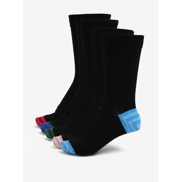Set de cinci perechi de sosete negre cu detalii multicolore – Burton Menswear London