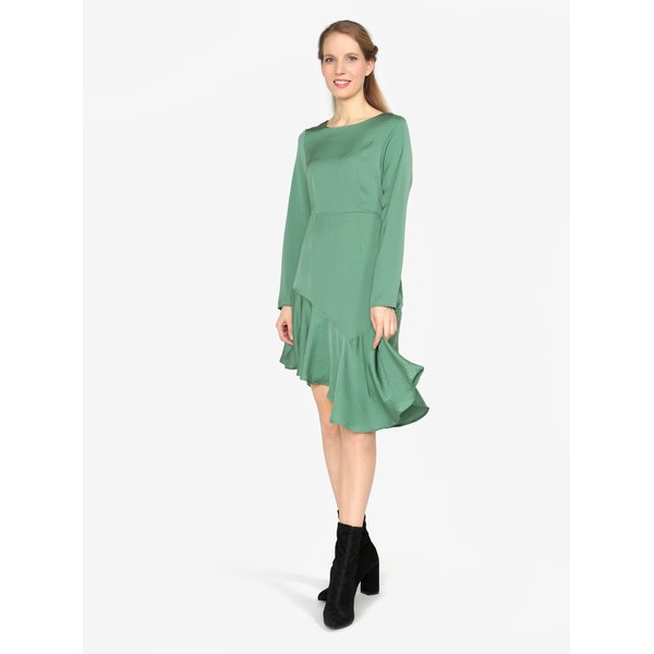 Rochie asimetrica verde cu volan la terminatie - VERO MODA Elsa