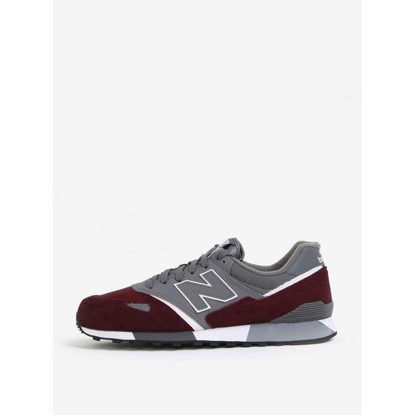 Pantofi sport din piele bordo & gri pentru barbati – New Balance U446