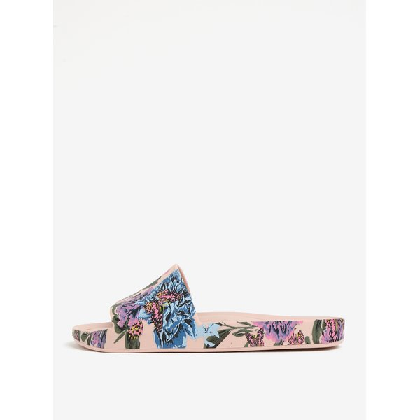 Papuci roz deschis cu print floral si fluturi - Melissa Beach Slide