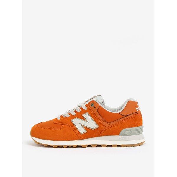 Pantofi sport oranj din piele intoarsa cu insertii din plasa pentru barbati – New Balance ML574