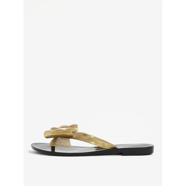 Papuci flip flop aurii cu funda si aspect stralucitor – Melissa Harmonic
