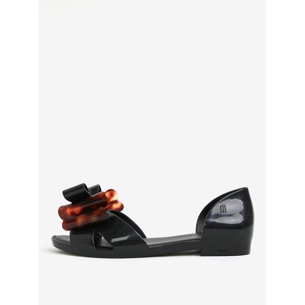 Sandale negre parfumate cu funda decorativa maro - Melissa Seduction