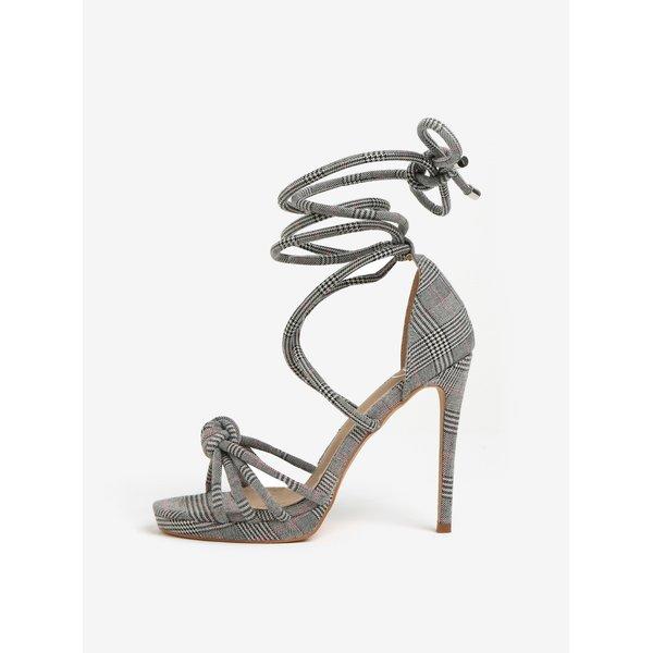Sandale cu toc inalt negru & gri si barete pe glezna - MISSGUIDED