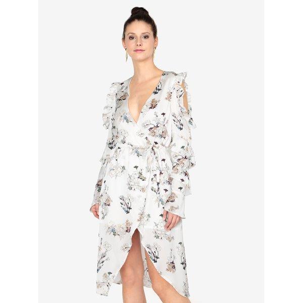 Rochie crem cu print floral si volane MISSGUIDED