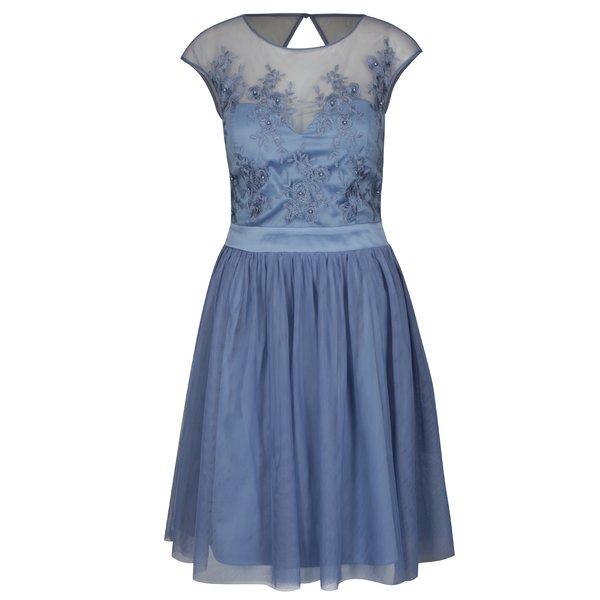Rochie albastra clos cu insertie de tule Dorothy Perkins