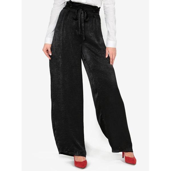 Pantaloni culottes negri cu talie inalta si cordon - MISSGUIDED