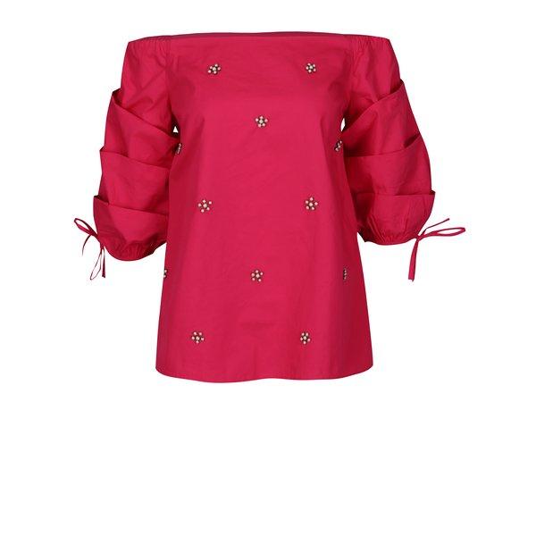 Bluza roz cu decolteu amplu si perle decorative - Dorothy Perkins