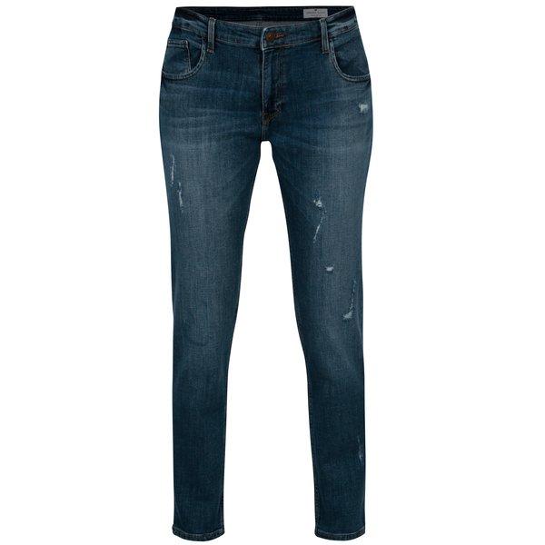 Blugi albastri straight fit cu aspect uzat pentru femei - Cross Jeans