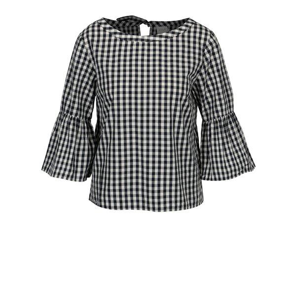 Bluza alb & negru cu maneci clopot si model carouri - VILA Samma