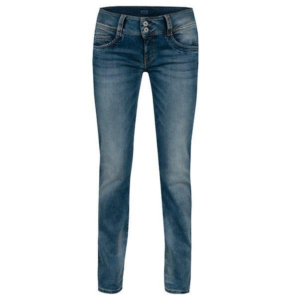 Blugi albastri straight fit cu aspect prespalat pentru femei - Pepe Jeans Gen