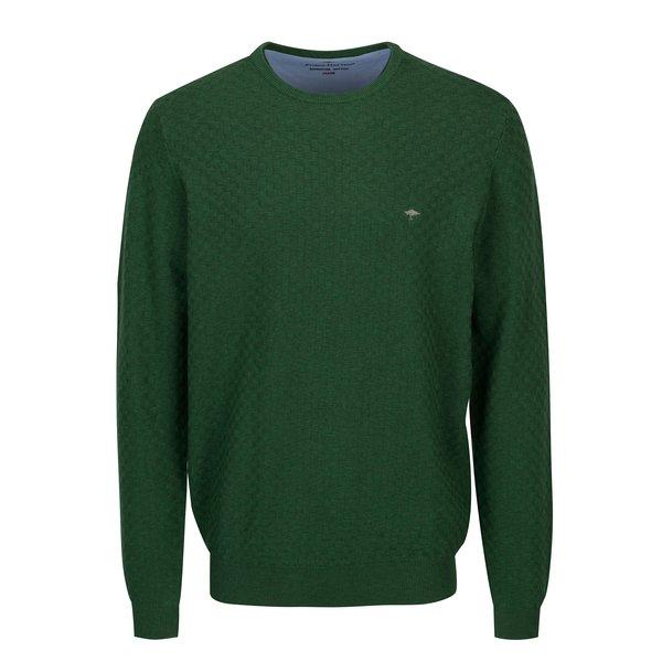 Pulover verde cu model geometric si logo brodat - Fynch-Hatton