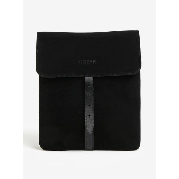 Geanta / rucsac negru din piele intoarsa - KOZAK