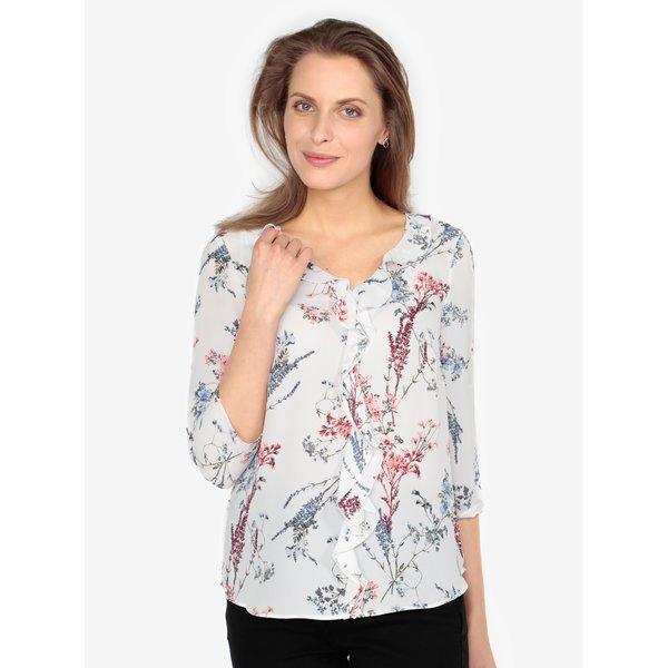 Bluza crem cu print floral si volane - M&Co