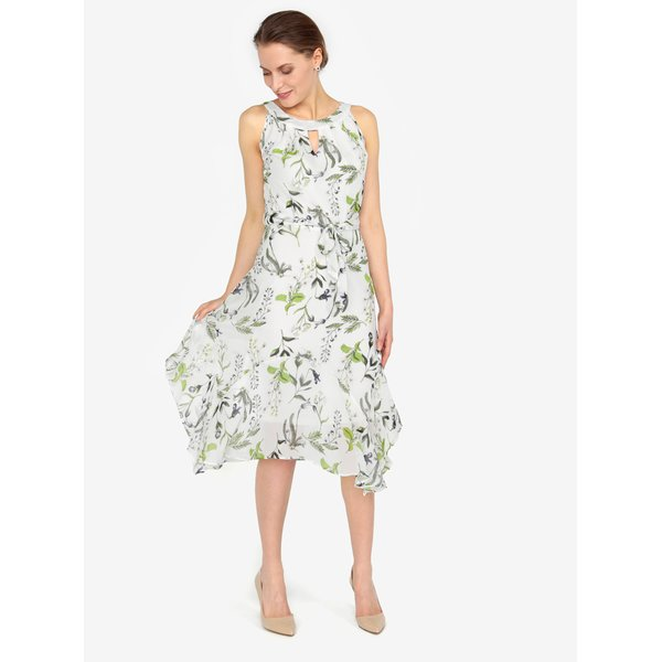 Rochie asimetrica crem cu print floral - M&Co