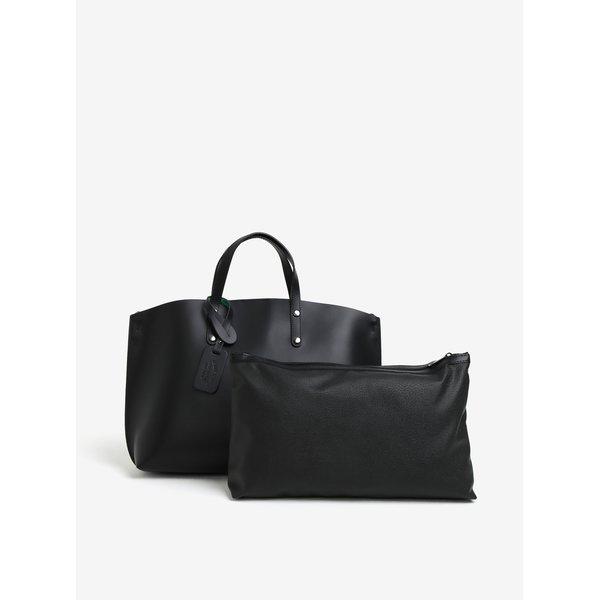 Set de geanta shopper neagra cu plic detasabil din piele naturala KARA
