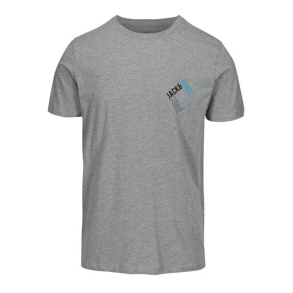 Tricou gri deschis melanj cu print logo - Jack & Jones Booster