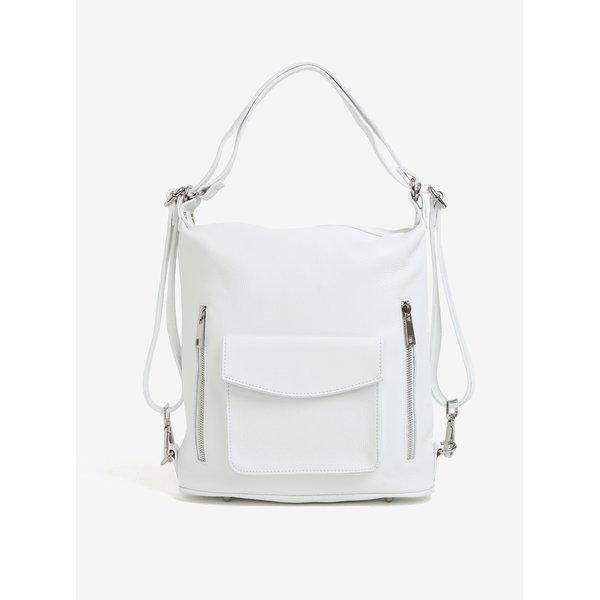 Rucsac / geanta alba din piele pentru femei - KARA