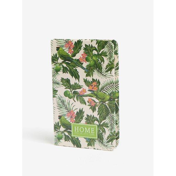 Carnet verde cu print floral si pasari - Kaemingk A6