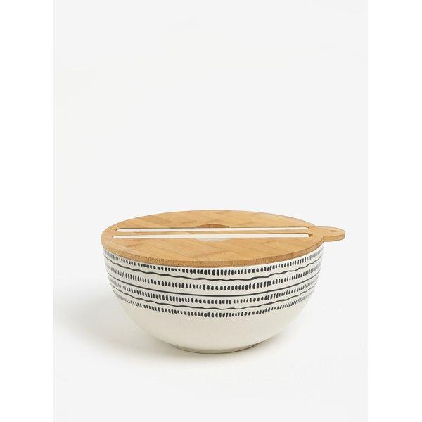 Bol alb de salata cu capac din lemn si print - Kaemingk