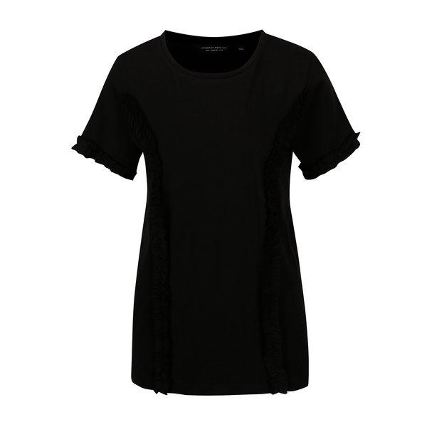 Tricou negru cu volane la maneci Dorothy Perkins