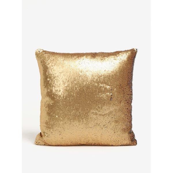 Perna decorativa cu paiete reversibile auriu & alb - Dakls