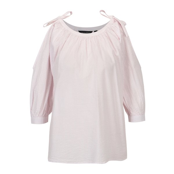 Bluza alba cu model in dungi roz si maneci balon – Dorothy Perkins