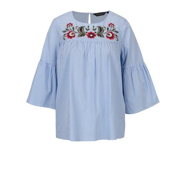 Bluza lejera cu dungi si broderie florala Dorothy Perkins