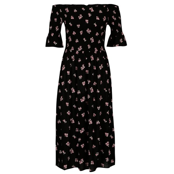 Rochie neagra cu print floral si decolteu pe umeri Dorothy Perkins