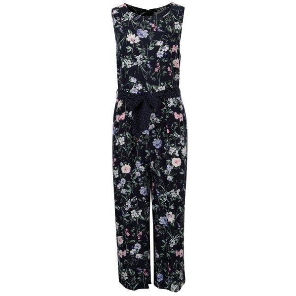Salopeta bleumarin cu print floral si cordon in talie - Dorothy Perkins Petite