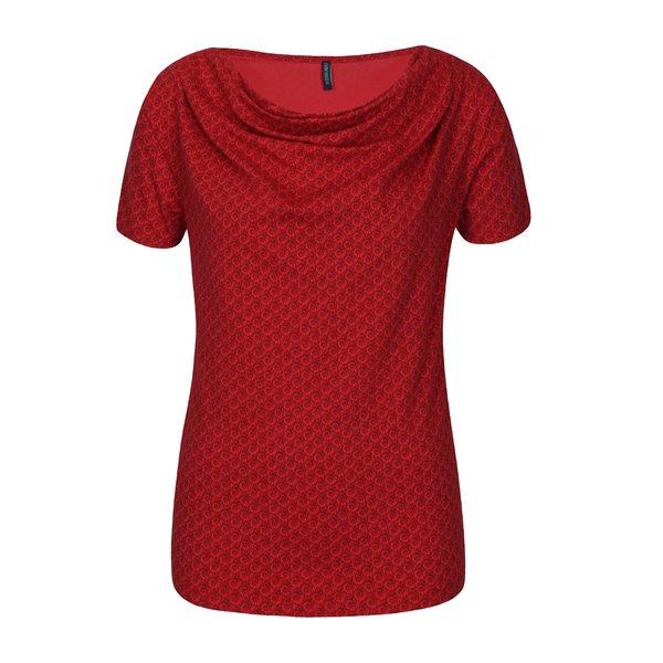 Tricou rosu cu print si decolteu drapat Tranquillo Vitisa