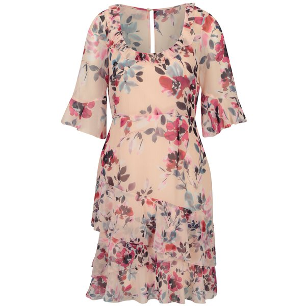Rochie roz cu print floral si maneci clopot French Connection