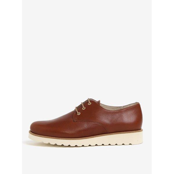 Pantofi maro din piele naturala cu platforma – OJJU
