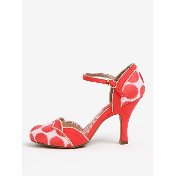 Pantofi decupati rosu & alb prafuit cu toc - Ruby Shoo Phoebe