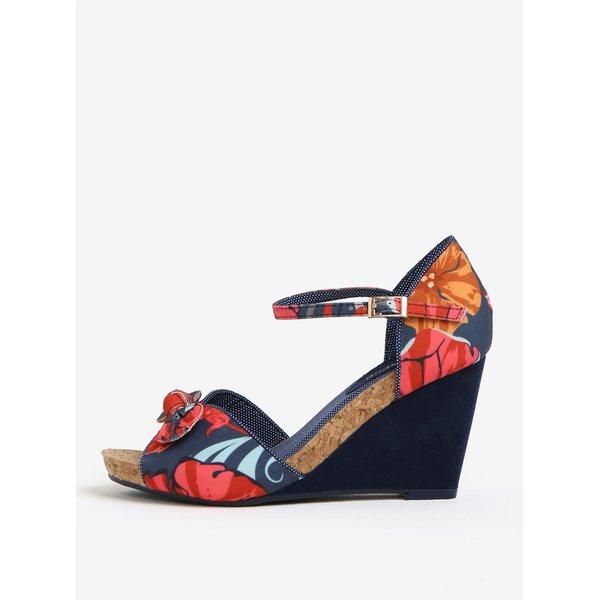 Sandale bleumarin cu print floral si platforma - Ruby Shoo Molly