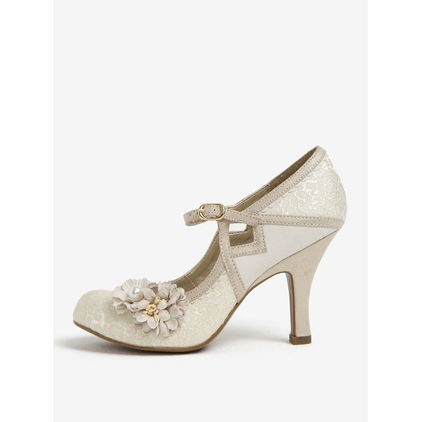 Pantofi decupati crem cu bareta si aplicatii florale - Ruby Shoo Yasmin